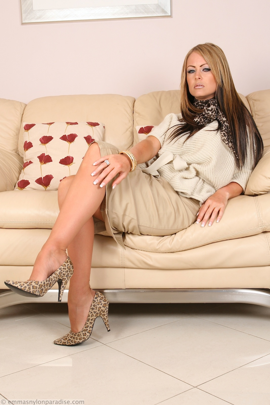 Panty hose and high heels